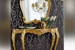 Consolle e specchiera foglia oro Barocco