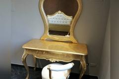 Consolle e specchiera foglia oro + panchetta imbottita