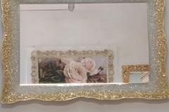 Specchiera graniglia vetro sfumata trasparente-oro