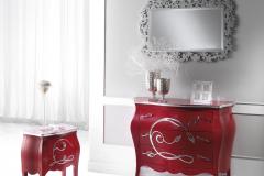 como-e-comodino-rosso-argento dalmar arredamenti