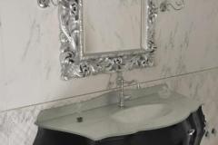 Bagno Barocco massello lucido nero opaco intagli foglia argento top cristallo foglia argento
