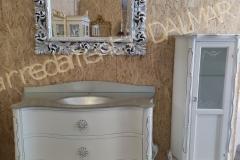 Bagno e vetrina legno massello Barocco laccato bianco e intagli foglia argento - Specchiera foglia argento
