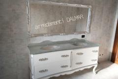 Bagno laccato bianco intagli argento doppio lavabo