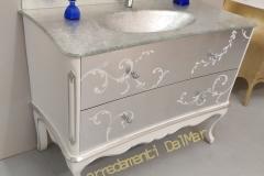 Bagno mod. Tiziano cm 120 1 lavabo top foglia argento cassetti foglia argento con dipinti eseguiti a mano