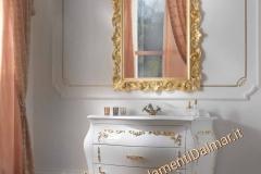 Bagno bombato 3 cassetti laccato bianco con applicazioni oro e top in mineralmarmo bianco