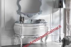 Bagno bombato massello barocco laccato bianco lucido top cristallo foglia argento