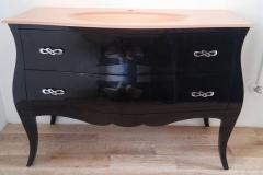 bagno-2-cassetti-nero-lucido top cristallo foglia rame