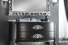 bagno 2 cassettoni nero opaco intagli argento