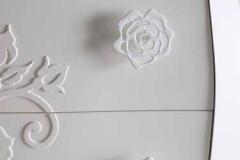 Bagno bombato rilievi rose/dettaglio pomolo