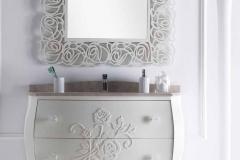 Bagno bombato rilievi rose - top marmo bocciardato