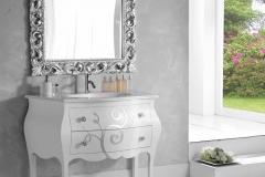 Bagno bombato rilievo riccioli - top mineralmarmo bianco