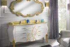 Bagno bombato doppio lavabo top cristallo foglia oro