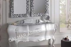 Bagno Barocco veneziano legno massello laccato bianco top cristallo foglia argento