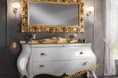 Bagno barocco 2 cassettoni legno massello laccato bianco lucido e particolari oro
