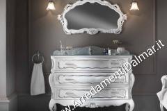 Bagno bombato barocco 3 cassetti applicazioni foglia argento