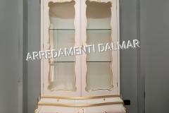 Vetrina sagomata 2 porte stile Barocco bianco e oro