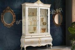 Argentiera Barocco laccata bianca con intagli foglia oro modello DalMar
