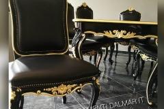 Arredo tavolo e sedie personalizzati lucido nero e foglia oro