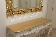 Consolle stile Barocco laccata bianco piano tutto foglia oro con specchiera traforata foglia oro